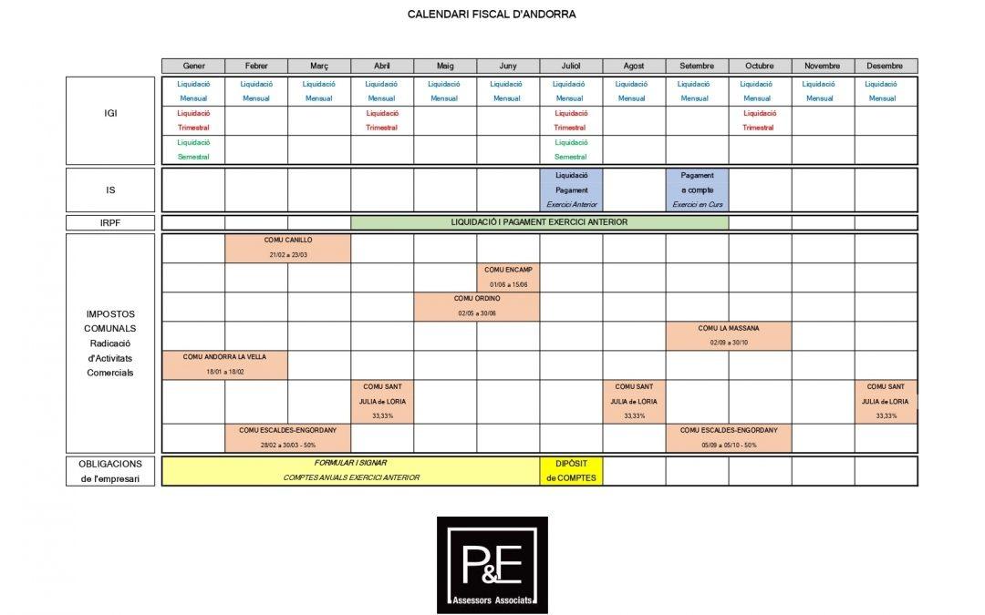 Calendari Fiscal Andorra 2020